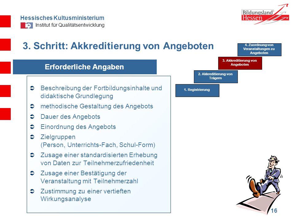 Hessisches Kultusministerium Institut für Qualitätsentwicklung 16 3. Schritt: Akkreditierung von Angeboten Beschreibung der Fortbildungsinhalte und di