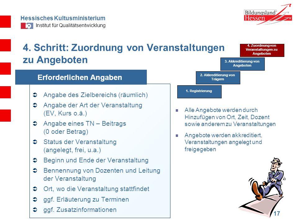 Hessisches Kultusministerium Institut für Qualitätsentwicklung 17 4. Schritt: Zuordnung von Veranstaltungen zu Angeboten Angabe des Zielbereichs (räum