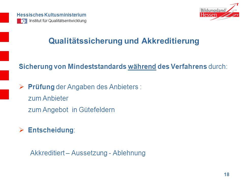 Hessisches Kultusministerium Institut für Qualitätsentwicklung 18 Qualitätssicherung und Akkreditierung Sicherung von Mindeststandards während des Ver
