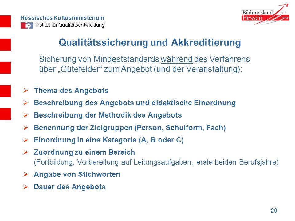 Hessisches Kultusministerium Institut für Qualitätsentwicklung 20 Qualitätssicherung und Akkreditierung Thema des Angebots Beschreibung des Angebots u