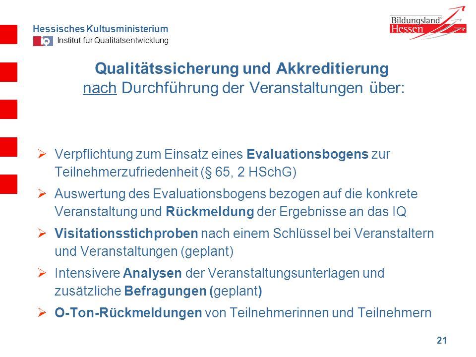 Hessisches Kultusministerium Institut für Qualitätsentwicklung 21 Qualitätssicherung und Akkreditierung nach Durchführung der Veranstaltungen über: Ve