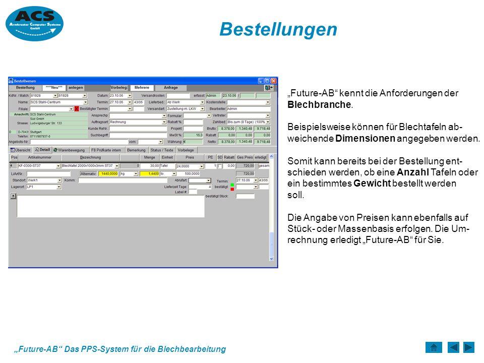 Future-AB Das PPS-System für die Blechbearbeitung Bestellungen Future-AB kennt die Anforderungen der Blechbranche.