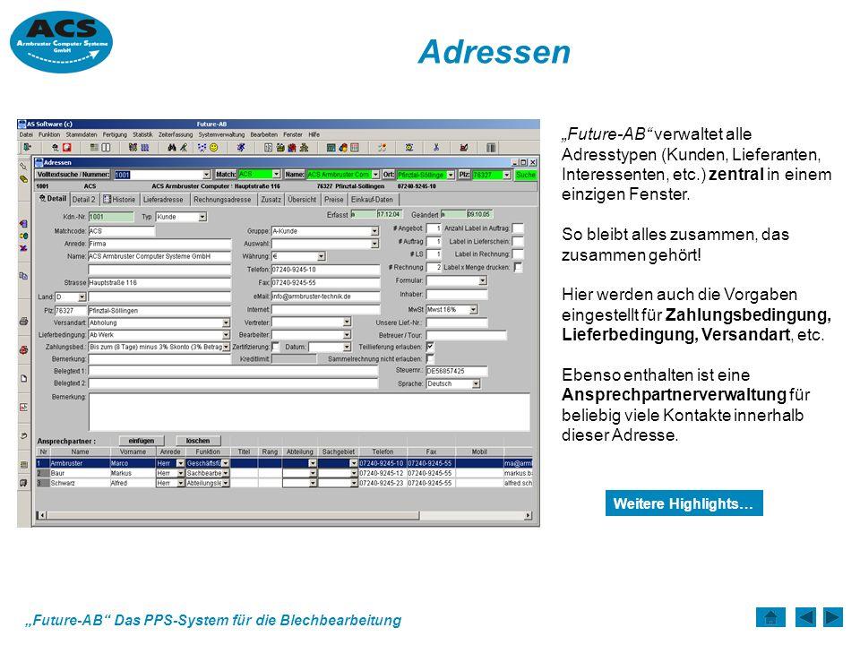 Future-AB Das PPS-System für die Blechbearbeitung Rechnung Erzeugte Lieferscheine können entweder in Einzel- oder in Sammel- rechnungen abgerechnet werden.