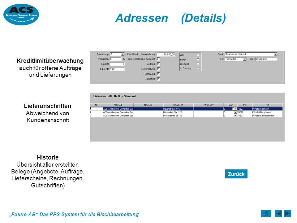 Future-AB Das PPS-System für die Blechbearbeitung Statistik Erfolg ist die Summe richtiger Entscheidungen.