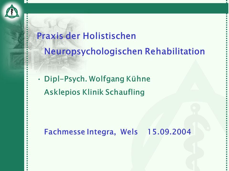 Praxis der Holistischen Neuropsychologischen Rehabilitation Dipl-Psych. Wolfgang Kühne Asklepios Klinik Schaufling Fachmesse Integra, Wels 15.09.2004