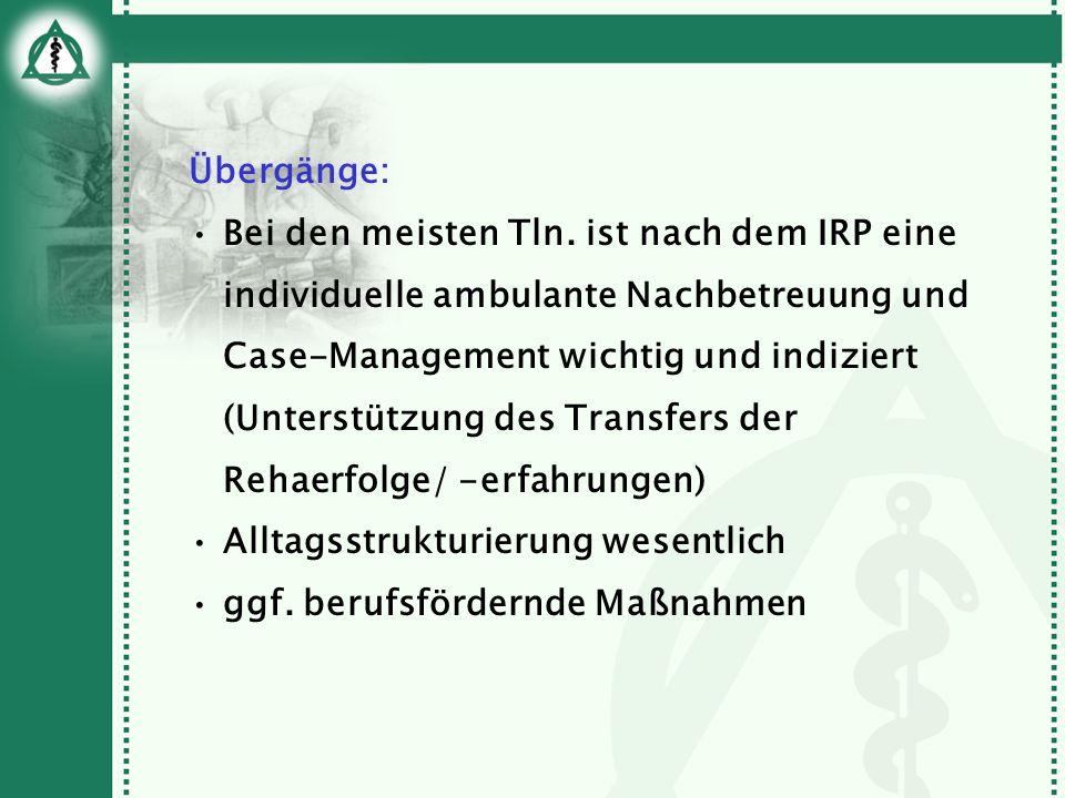 Übergänge: Bei den meisten Tln. ist nach dem IRP eine individuelle ambulante Nachbetreuung und Case-Management wichtig und indiziert (Unterstützung de