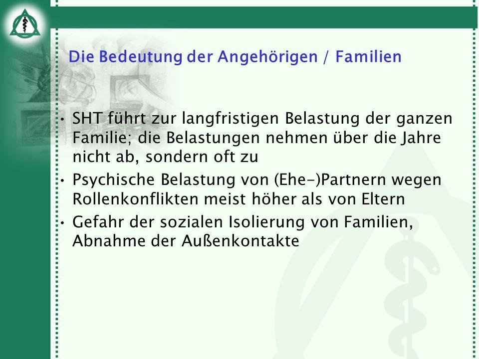 Die Bedeutung der Angehörigen / Familien SHT führt zur langfristigen Belastung der ganzen Familie; die Belastungen nehmen über die Jahre nicht ab, son
