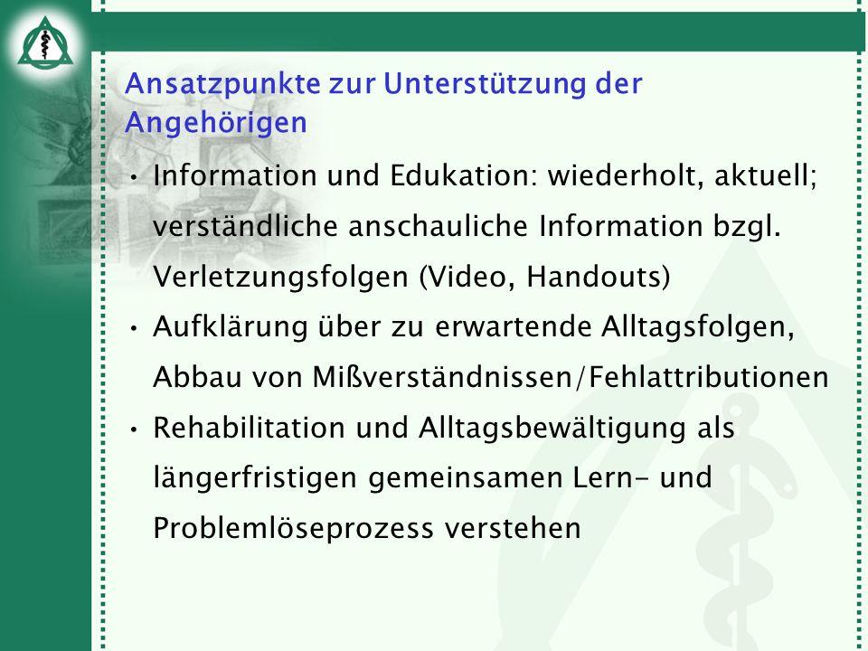 Ansatzpunkte zur Unterstützung der Angehörigen Information und Edukation: wiederholt, aktuell; verständliche anschauliche Information bzgl. Verletzung