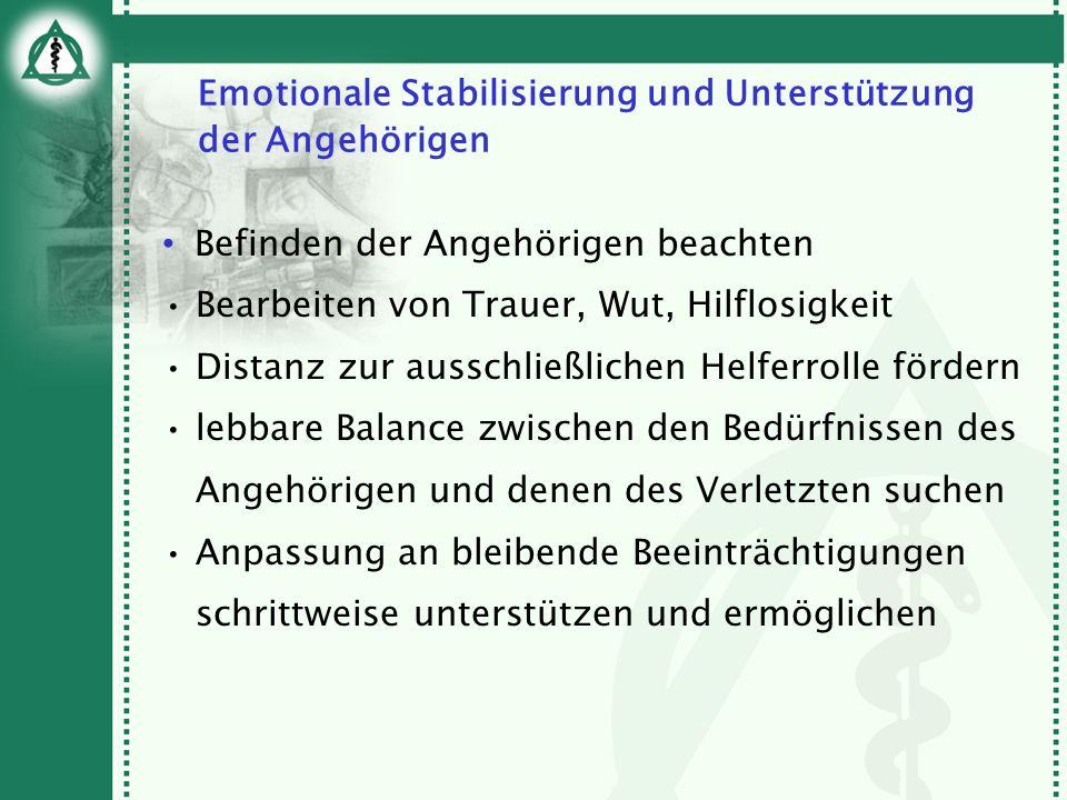 Emotionale Stabilisierung und Unterstützung der Angehörigen Befinden der Angehörigen beachten Bearbeiten von Trauer, Wut, Hilflosigkeit Distanz zur au