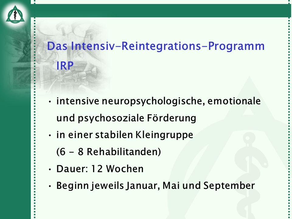 Das Intensiv-Reintegrations-Programm IRP intensive neuropsychologische, emotionale und psychosoziale Förderung in einer stabilen Kleingruppe (6 - 8 Re
