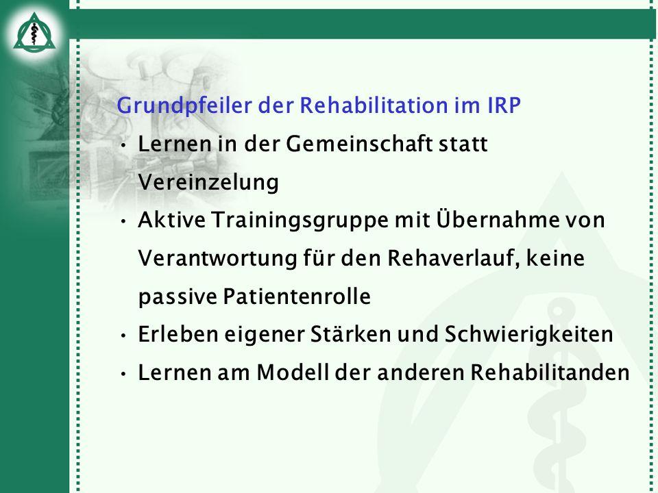 Grundpfeiler der Rehabilitation im IRP Lernen in der Gemeinschaft statt Vereinzelung Aktive Trainingsgruppe mit Übernahme von Verantwortung für den Re
