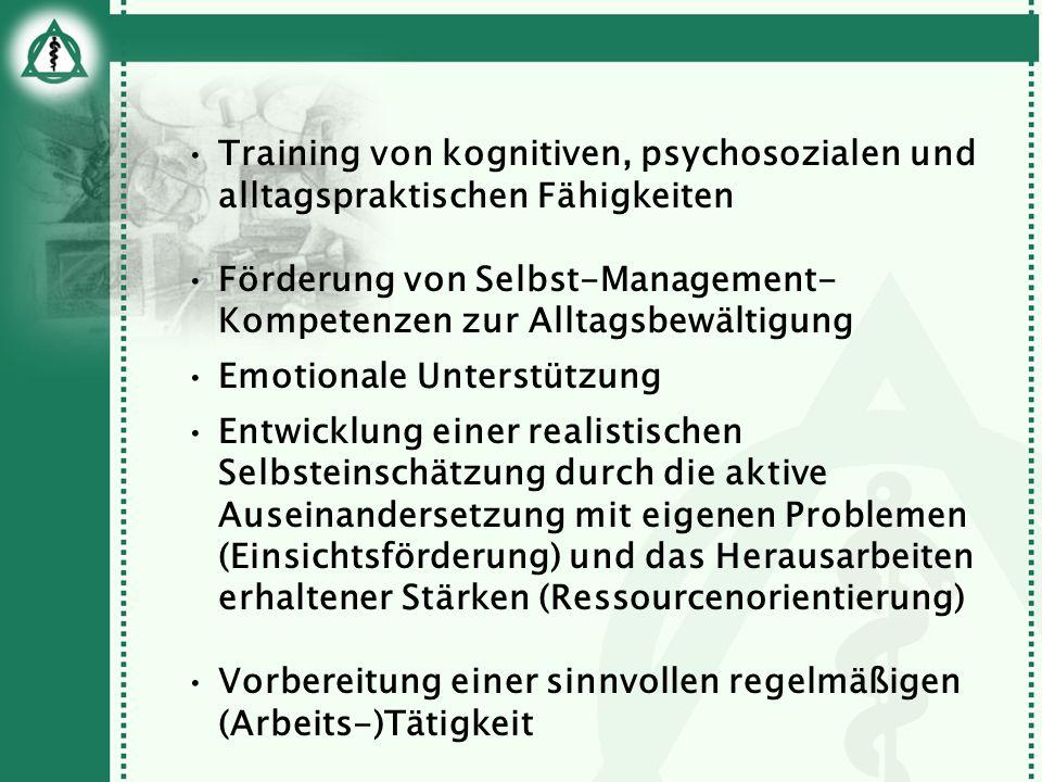 Training von kognitiven, psychosozialen und alltagspraktischen Fähigkeiten Förderung von Selbst-Management- Kompetenzen zur Alltagsbewältigung Emotion