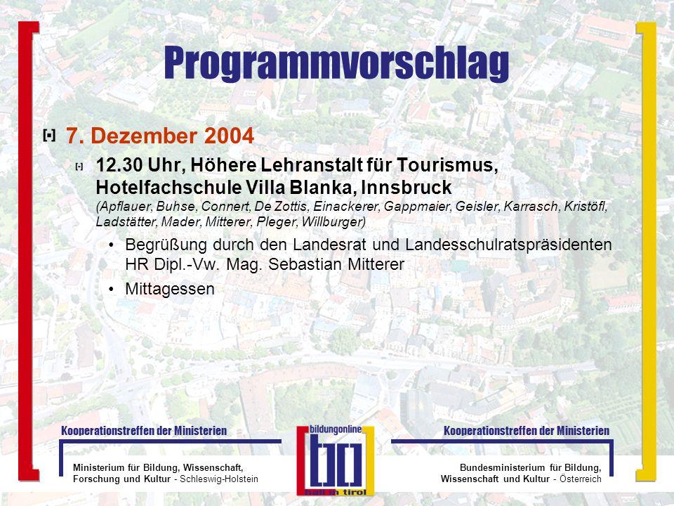 Ministerium für Bildung, Wissenschaft, Forschung und Kultur - Schleswig-Holstein Kooperationstreffen der Ministerien Bundesministerium für Bildung, Wi