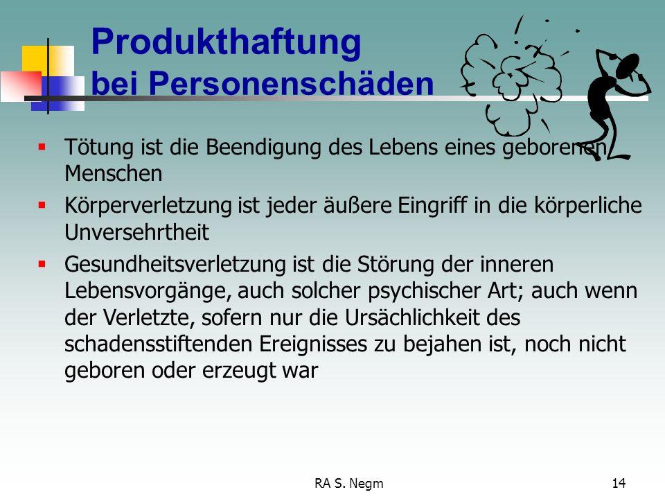 RA S. Negm13 Fehlerbegriff Verbrauchererwartung-Zeitpunkt Zeitpunkt, in dem das Produkt in Verkehr gebracht wurde: Der Zeitpunkt des Inverkehrbringens