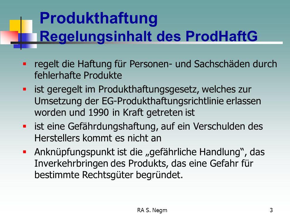 RA S. Negm2 Produktrisiken PrivatrechtÖffentliches RechtStrafrecht RegelungenGewährleistungProdukthaftungProduzenten- haftung GPSGStrafrechtliche Prod