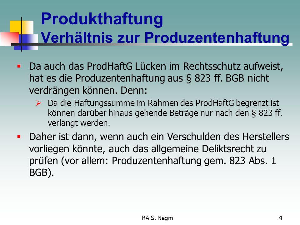 RA S. Negm3 Produkthaftung Regelungsinhalt des ProdHaftG regelt die Haftung für Personen- und Sachschäden durch fehlerhafte Produkte ist geregelt im P