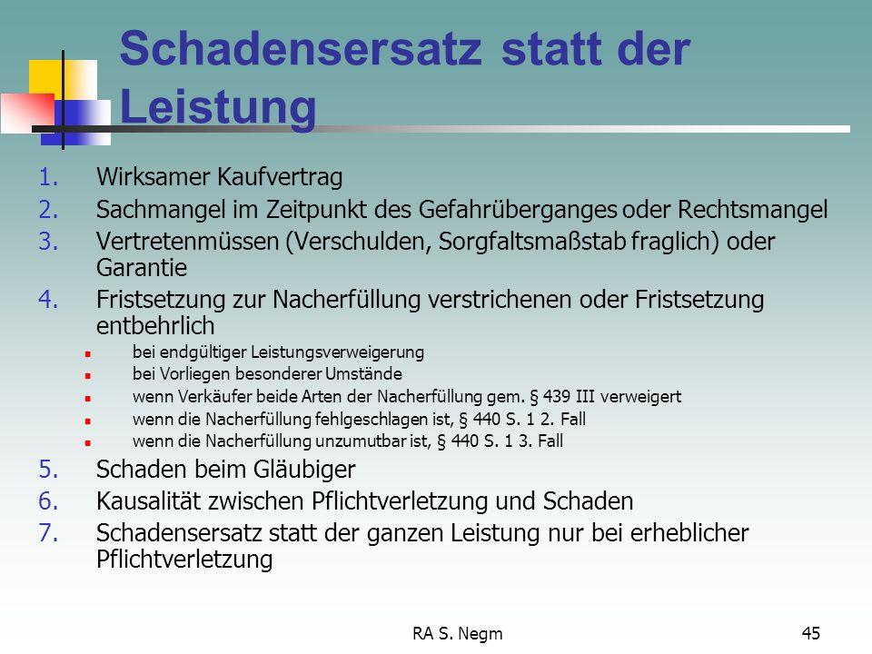 RA S. Negm44 Rücktritt Voraussetzungen 1.Wirksamer Kaufvertrag 2.Sach- oder Rechtsmangel 3.Erheblichkeit der Pflichtverletzung 4.a) Ernsthafte Fristse