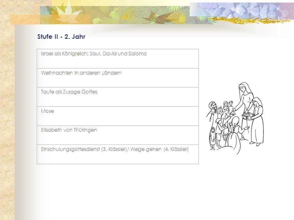 Stufe II - 2. Jahr Israel als Königreich: Saul, David und Salomo Weihnachten in anderen Ländern Taufe als Zusage Gottes Mose Elisabeth von Thüringen E