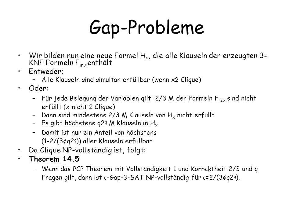 Gap-Probleme Wir bilden nun eine neue Formel H x, die alle Klauseln der erzeugten 3- KNF Formeln F m,x enthält Entweder: –Alle Klauseln sind simultan erfüllbar (wenn x 2 Clique) Oder: –Für jede Belegung der Variablen gilt: 2/3 M der Formeln F m,x sind nicht erfüllt (x nicht 2 Clique) –Dann sind mindestens 2/3 M Klauseln von H x nicht erfüllt –Es gibt höchstens q2 q M Klauseln in H x –Damit ist nur ein Anteil von höchstens (1-2/(3 ¢ q2 q )) aller Klauseln erfüllbar Da Clique NP-vollständig ist, folgt: Theorem 14.5 –Wenn das PCP Theorem mit Vollständigkeit 1 und Korrektheit 2/3 und q Fragen gilt, dann ist -Gap-3-SAT NP-vollständig für =2/(3 ¢ q2 q ).