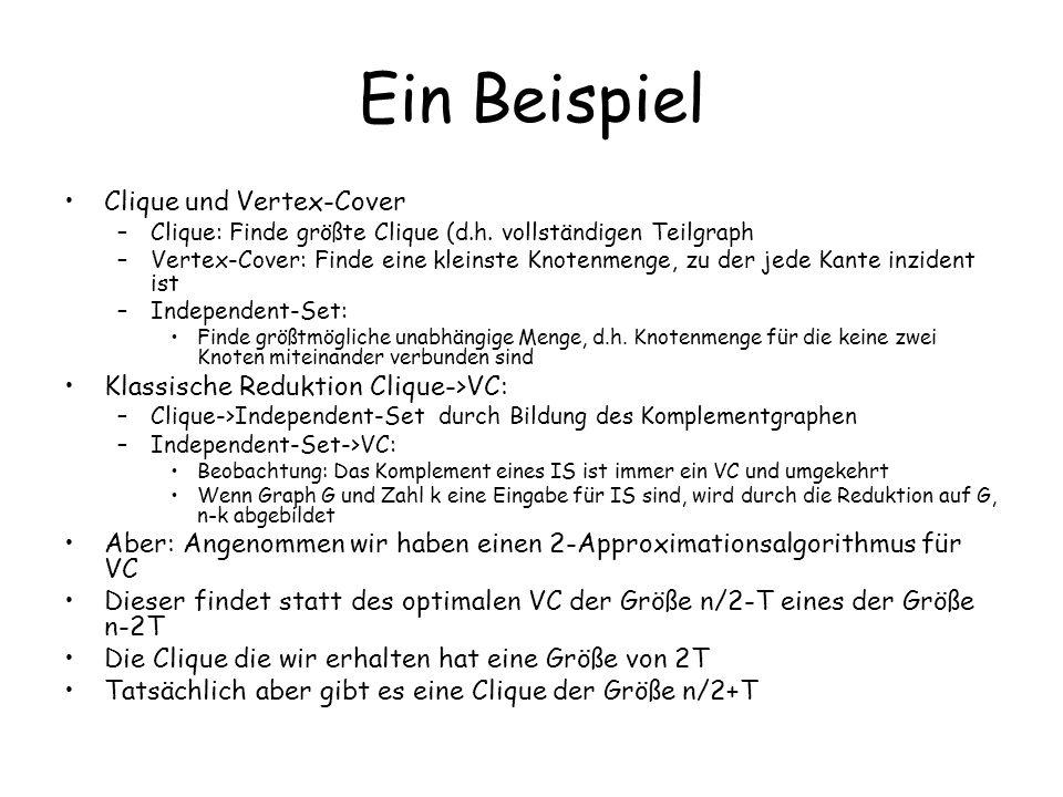 Ein Beispiel Clique und Vertex-Cover –Clique: Finde größte Clique (d.h.