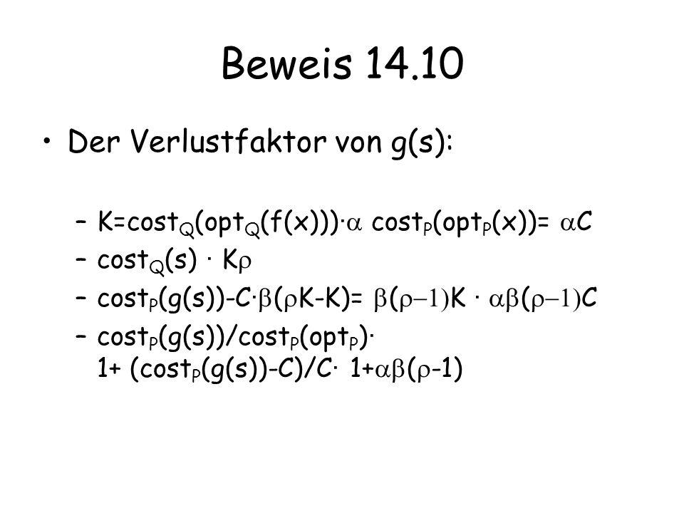 Beweis 14.10 Der Verlustfaktor von g(s): –K=cost Q (opt Q (f(x))) · cost P (opt P (x))= C –cost Q (s) · K –cost P (g(s))-C · ( K-K)= ( K · ( C –cost P (g(s))/cost P (opt P ) · 1+ (cost P (g(s))-C)/C · 1+ ( -1)