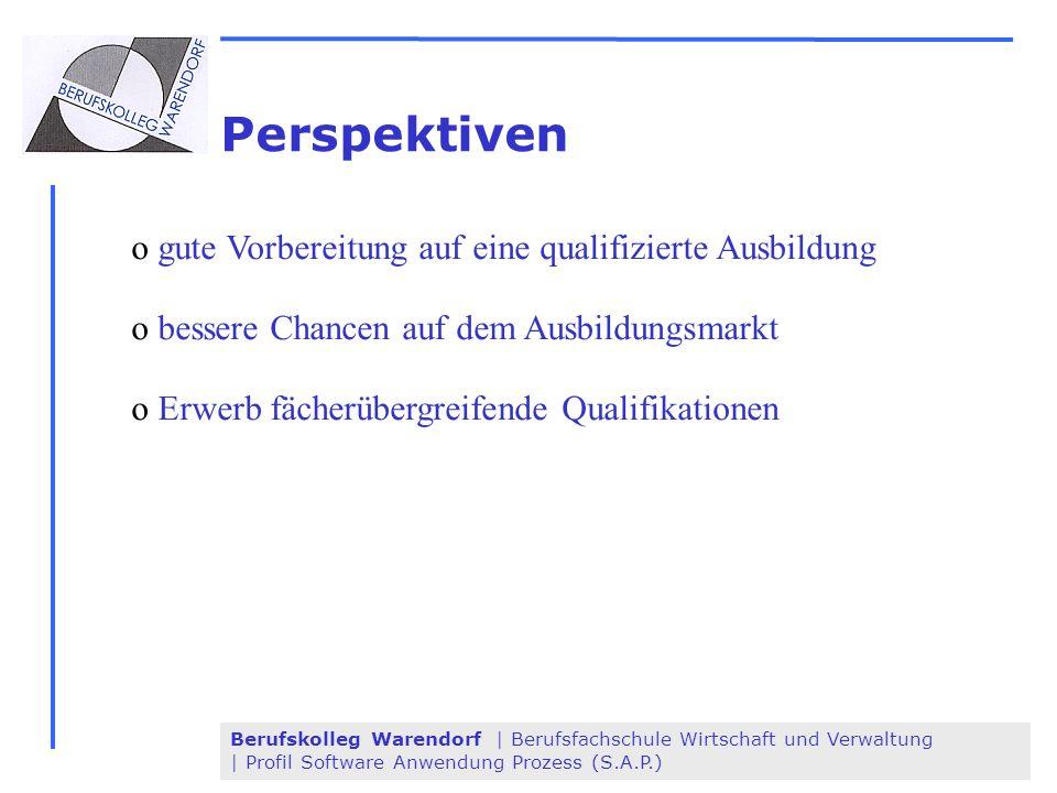 Berufskolleg Warendorf | Berufsfachschule Wirtschaft und Verwaltung | Profil Software Anwendung Prozess (S.A.P.) Perspektiven o gute Vorbereitung auf