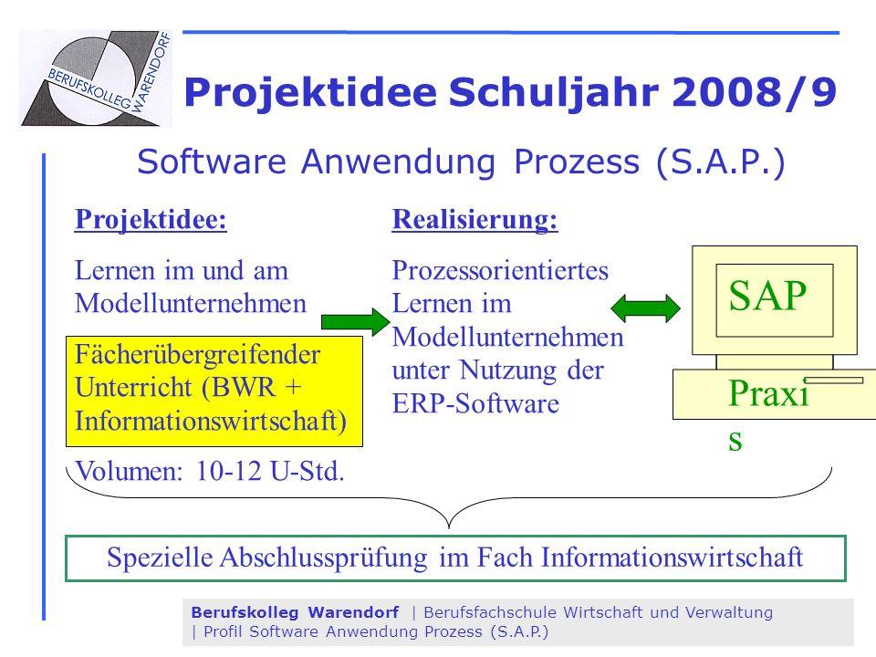 Berufskolleg Warendorf | Berufsfachschule Wirtschaft und Verwaltung | Profil Software Anwendung Prozess (S.A.P.) SAP Praxi s Projektidee Schuljahr 200