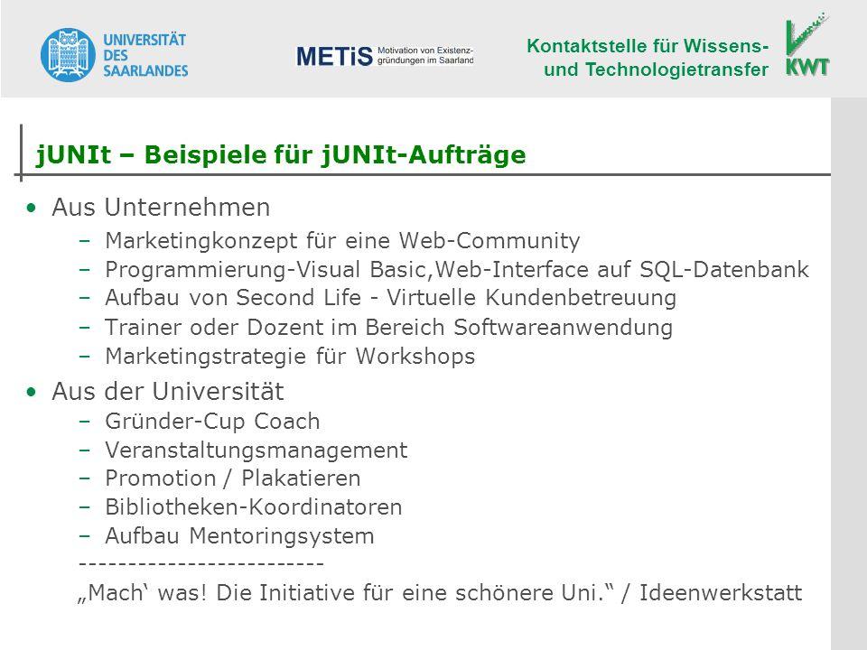 Kontaktstelle für Wissens- und Technologietransfer jUNIt – Beispiele für jUNIt-Aufträge Aus Unternehmen –Marketingkonzept für eine Web-Community –Prog