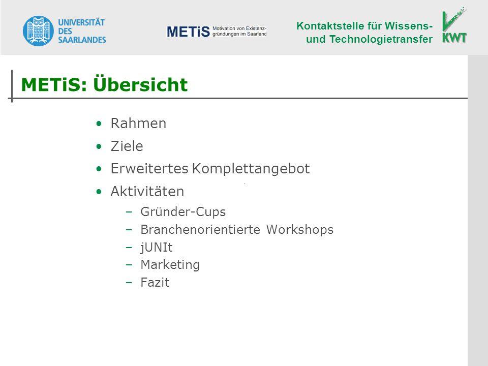 Kontaktstelle für Wissens- und Technologietransfer METiS: Übersicht Rahmen Ziele Erweitertes Komplettangebot Aktivitäten –Gründer-Cups –Branchenorientierte Workshops –jUNIt –Marketing –Fazit