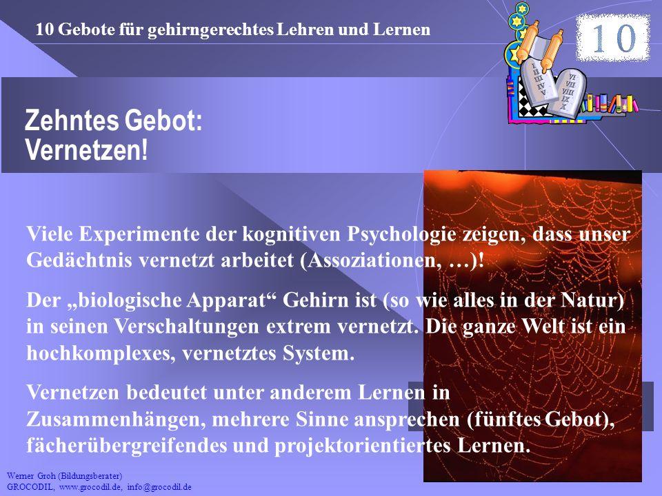 Werner Groh (Bildungsberater) GROCODIL, www.grocodil.de, info@grocodil.de Zehntes Gebot: Vernetzen! Viele Experimente der kognitiven Psychologie zeige