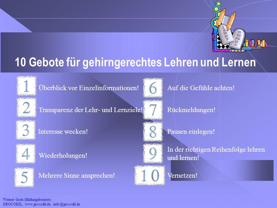 Werner Groh (Bildungsberater) GROCODIL, www.grocodil.de, info@grocodil.de 10 Gebote für gehirngerechtes Lehren und Lernen Überblick vor Einzelinformat