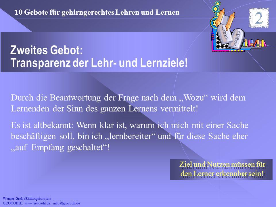 Werner Groh (Bildungsberater) GROCODIL, www.grocodil.de, info@grocodil.de Zweites Gebot: Transparenz der Lehr- und Lernziele! Durch die Beantwortung d