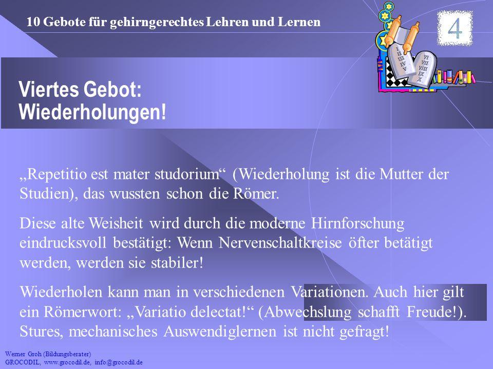 Werner Groh (Bildungsberater) GROCODIL, www.grocodil.de, info@grocodil.de Viertes Gebot: Wiederholungen! Repetitio est mater studorium (Wiederholung i