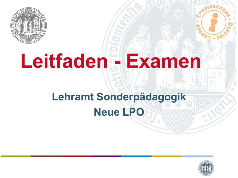Leitfaden - Examen Lehramt Sonderpädagogik Neue LPO