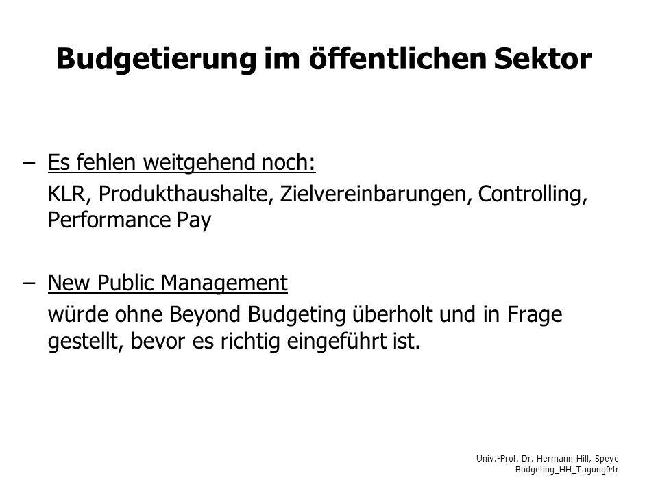 Univ.-Prof. Dr. Hermann Hill, Speye Budgeting_HH_Tagung04r Budgetierung im öffentlichen Sektor –Es fehlen weitgehend noch: KLR, Produkthaushalte, Ziel