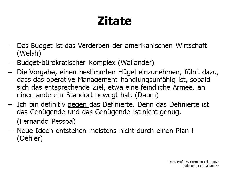 Univ.-Prof. Dr. Hermann Hill, Speye Budgeting_HH_Tagung04r Zitate –Das Budget ist das Verderben der amerikanischen Wirtschaft (Welsh) –Budget-bürokrat