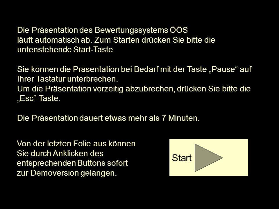 Die Präsentation des Bewertungssystems ÖÖS läuft automatisch ab. Zum Starten drücken Sie bitte die untenstehende Start-Taste. Sie können die Präsentat
