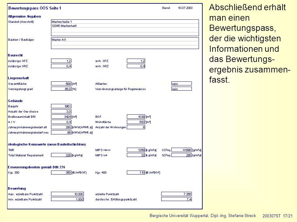 Bergische Universität Wuppertal, Dipl.-Ing. Stefanie Streck 200307ST 17/21 Abschließend erhält man einen Bewertungspass, der die wichtigsten Informati