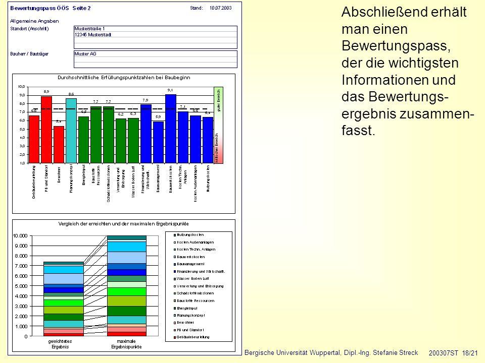 Bergische Universität Wuppertal, Dipl.-Ing. Stefanie Streck 200307ST 18/21 Abschließend erhält man einen Bewertungspass, der die wichtigsten Informati