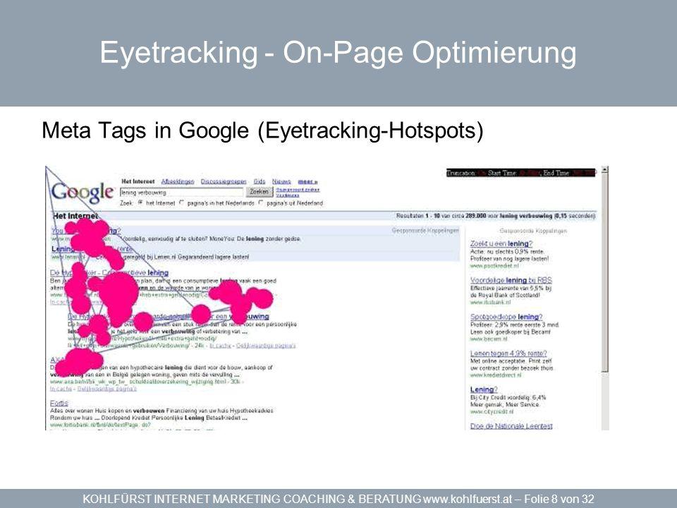 KOHLFÜRST INTERNET MARKETING COACHING & BERATUNG www.kohlfuerst.at – Folie 9 von 32 - On-Page Optimierung TITLE – Meta Tags