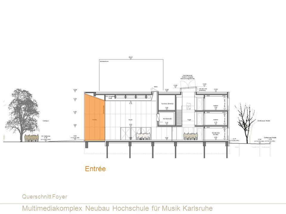Multimediakomplex Neubau Hochschule für Musik Karlsruhe Querschnitt Foyer Entrée