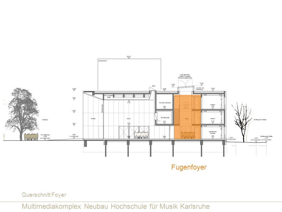 Multimediakomplex Neubau Hochschule für Musik Karlsruhe Querschnitt Foyer Fugenfoyer