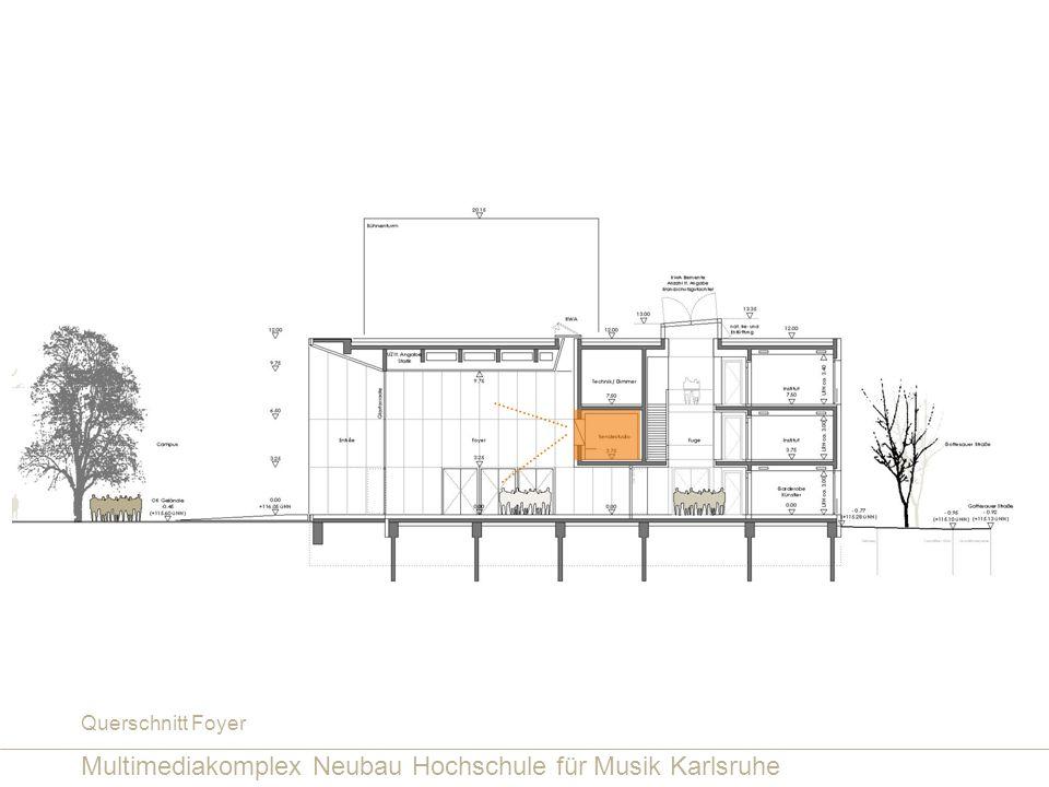 Multimediakomplex Neubau Hochschule für Musik Karlsruhe Querschnitt Foyer