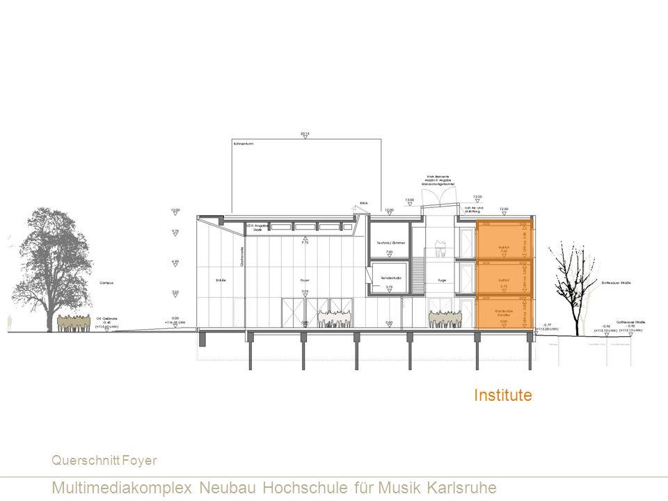 Multimediakomplex Neubau Hochschule für Musik Karlsruhe Querschnitt Foyer Institute