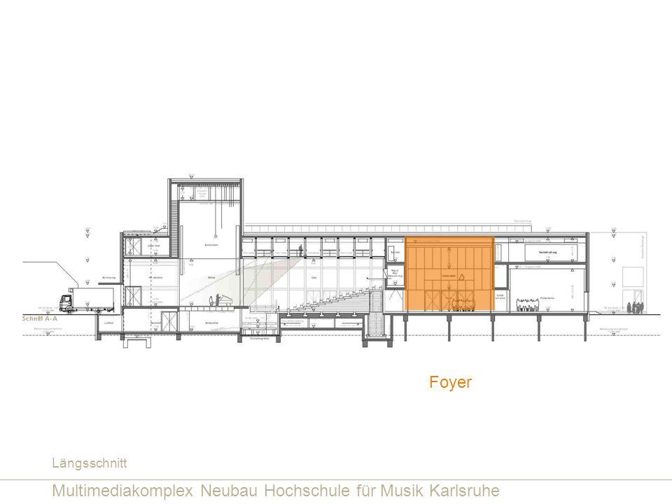 Multimediakomplex Neubau Hochschule für Musik Karlsruhe Foyer Längsschnitt