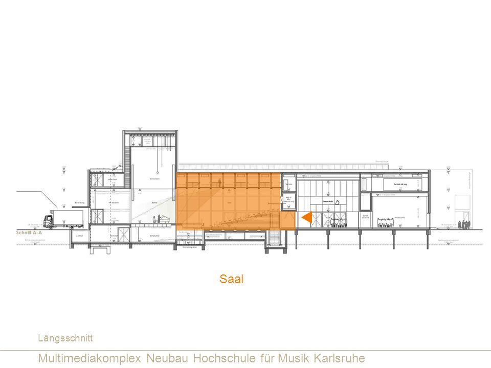 Multimediakomplex Neubau Hochschule für Musik Karlsruhe Saal Längsschnitt