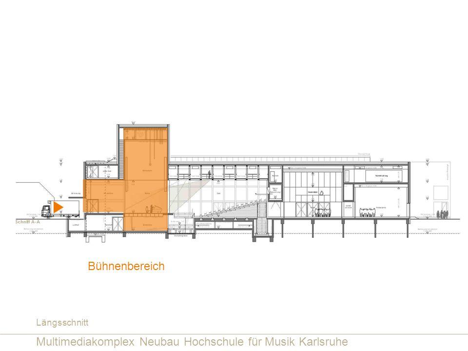 Multimediakomplex Neubau Hochschule für Musik Karlsruhe Bühnenbereich Längsschnitt