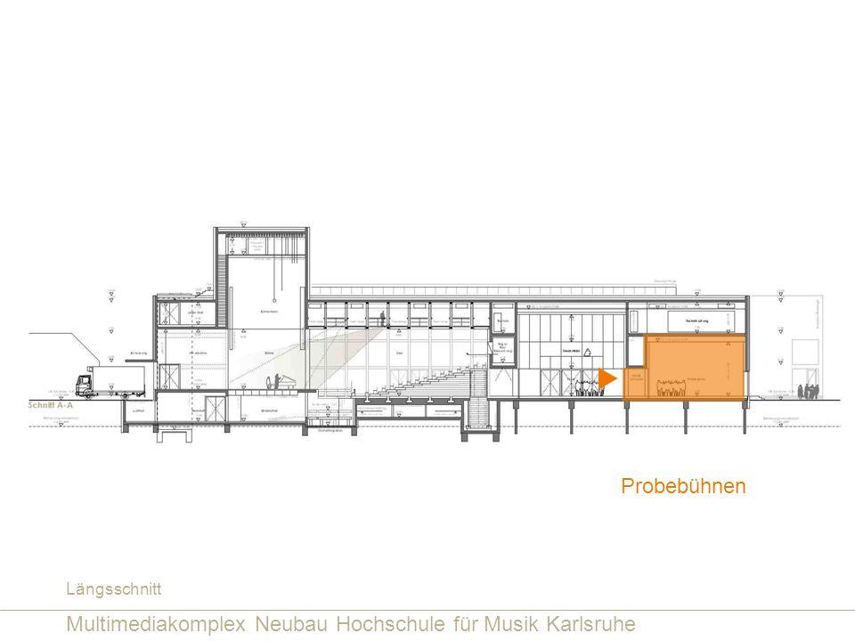 Multimediakomplex Neubau Hochschule für Musik Karlsruhe Probebühnen Längsschnitt