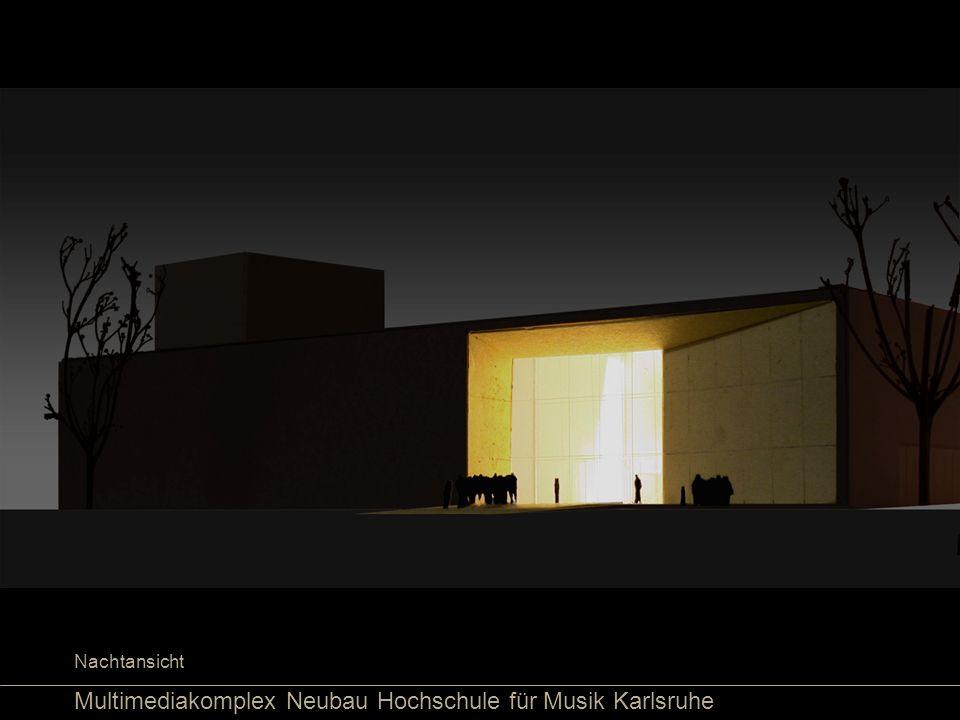 Multimediakomplex Neubau Hochschule für Musik Karlsruhe Nachtansicht
