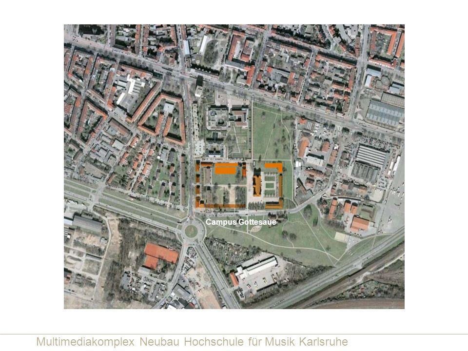 Multimediakomplex Neubau Hochschule für Musik Karlsruhe Längsschnitt